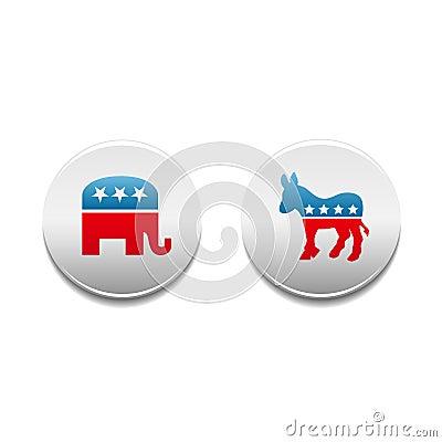 Free Democrat And Republican Political Badges Stock Images - 4237334