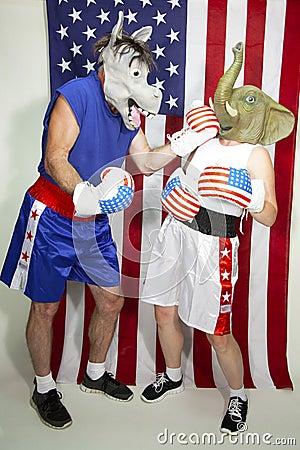 Democrat beating up a Republican Editorial Photo