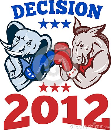 Democrat Donkey Republican Elephant Decision 2012 Editorial Photo