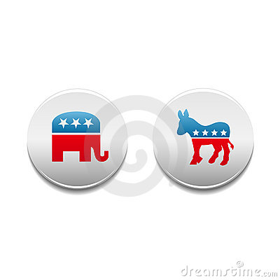 Democrat and Republican political badges Editorial Stock Image