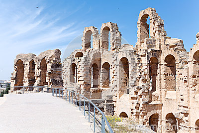 Demolished ancient walls and arches in El Djem Amphitheatre