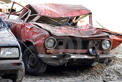 Demolished cars in junkyard