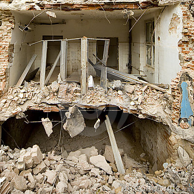 Demolished house and rubble