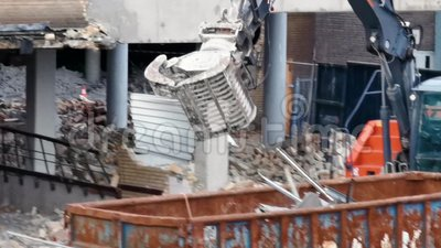 Demolition of a building in the city of tilburg, the Netherlands, 10 december, 2019. The Demolition of a building in the city of tilburg, the Netherlands, 10 stock video
