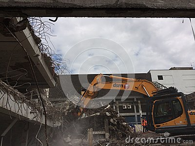 Demolition of car park in Mayflower Plymouth Editorial Photo