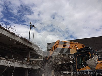 Demolition of car park in Mayflower Plymouth Editorial Stock Photo