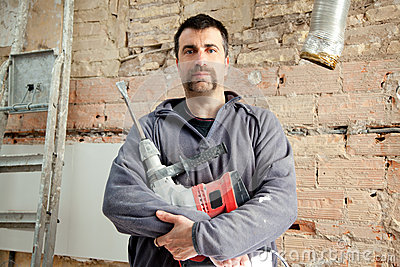 Demolition hammer man mason manual worker