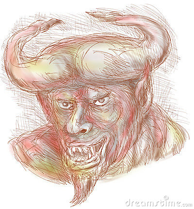 Demon with big horns