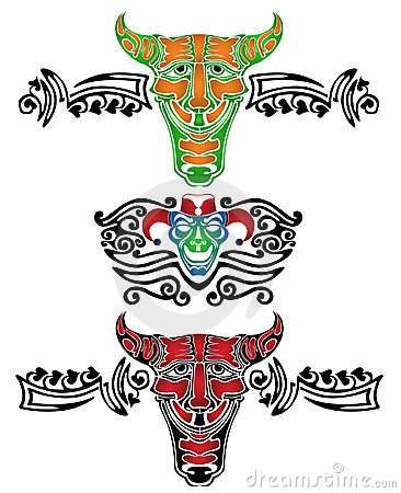 Demon fool joker tattoo pattern
