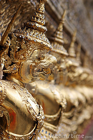 Demon gargoyles at the shrine of the Emerald Buddha, Bangkok (po