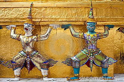 Demon Guardian golden Chedi at Wat Phra Kaew