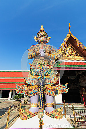 Free Demon Guardian Wat Phra Kaew Grand Palace Bangkok Stock Image - 55217621