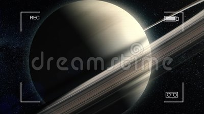 Demonstração aérea do close-up do planeta Saturn Animação de Saturn Planeta Saturn Front View Animation majestoso ilustração royalty free