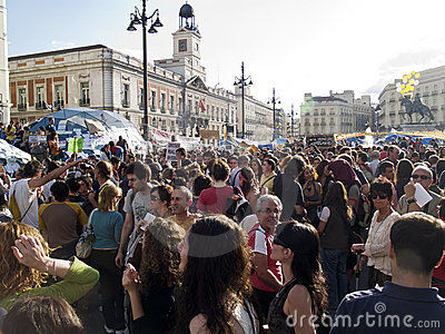 Demonstration against political class in Madrid Editorial Stock Photo