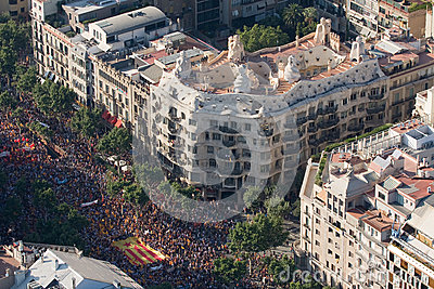 Demonstration in Barcelona Editorial Photography