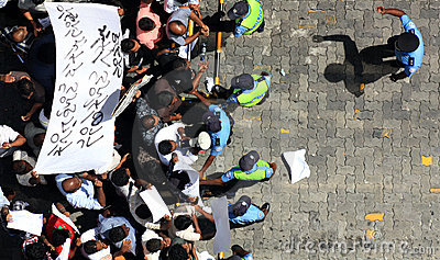 Demonstration in Maldives Editorial Photography