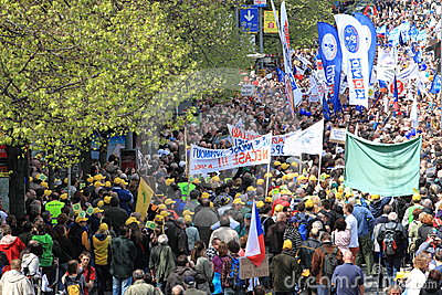 Demonstration in Prague Editorial Stock Image