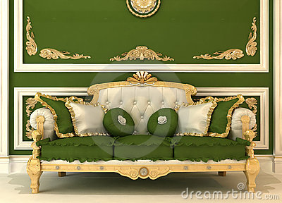 Demonstration of Royal sofa in green room