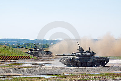 Demonstration of tanks T-90. Editorial Stock Photo