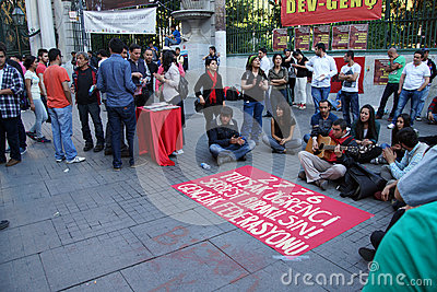 Demonstration to protest the jailing of student activists Editorial Photo