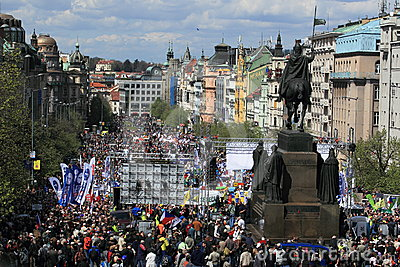 Demonstration in Wenceslas square Prague Editorial Stock Image