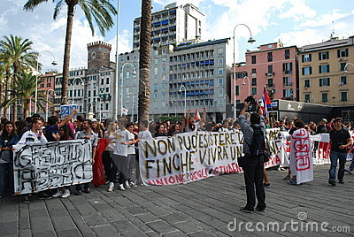 demonstrations in Genoa, Italy against the governm Editorial Image