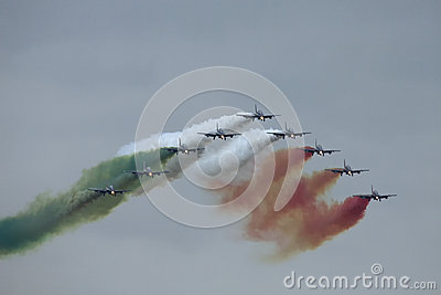 Demonstrative performance of aerobatic team