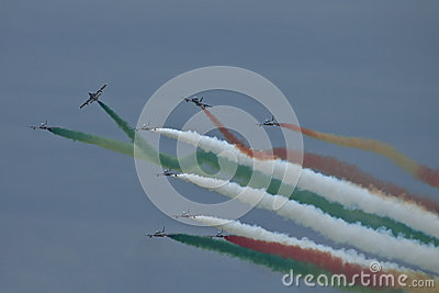 Demonstrative performance of aerobatic team