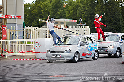 Demonstrative performance of members from stuntmen team Editorial Stock Image