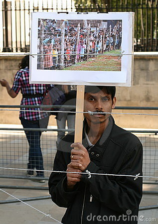 Demonstrator Against Concentration Camps Editorial Stock Photo