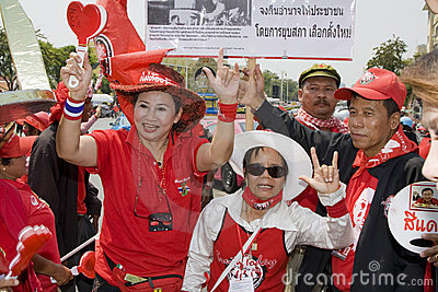 Demonstrators converged on the Thai capital Editorial Image