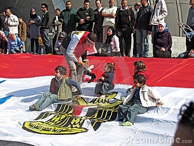 Demonstrators at the Library of Alexandria Editorial Stock Photo