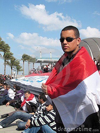 Demonstrators at the Library of Alexandria Editorial Photo