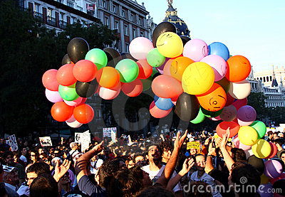 Demonstrators in the streets of Madrid, Spain Editorial Stock Photo