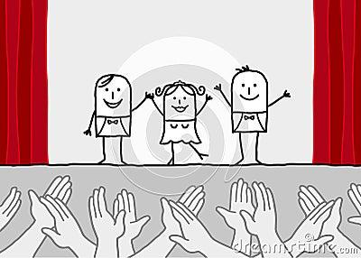 Demostración del teatro y manos que aplauden