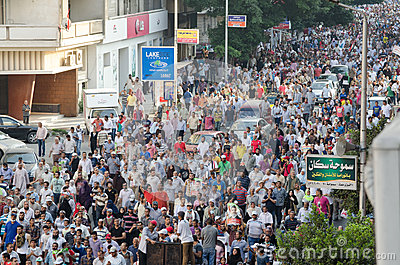 Demostrations enormes a favor do presidente sustituído Morsi Imagem de Stock Editorial