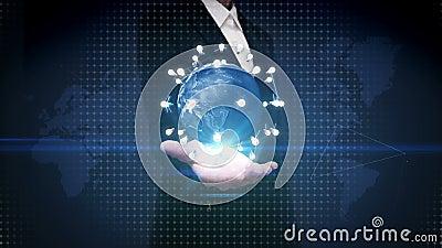 Den öppna affärskvinnan gömma i handflatan och att rotera jord, förbinder idékulasymbolen kommunikationsteknologi, nätverksvärlds
