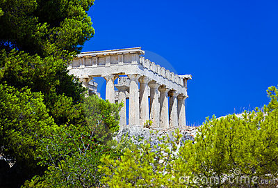 Den aeginagreece ön fördärvar tempelet