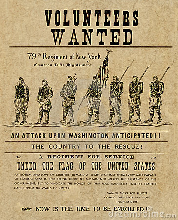 Den amerikanska borgerliga affischen kriger