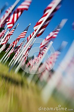 Den amerikanska dagen flags minnesmärken USA