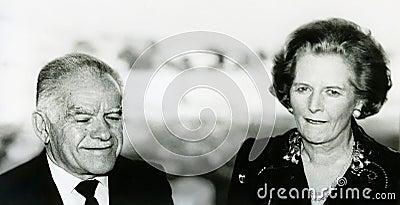 Yitzhak Shamir och Margaret Thatcher Redaktionell Fotografering för Bildbyråer