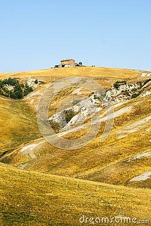 Den Crete senesien, kännetecken landskap i den Val d Orciaen
