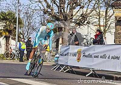 Den cyklistEgor Silin- Paris Nice prologen 2013 I Redaktionell Arkivbild