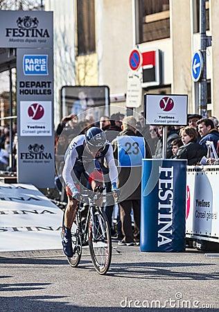 Den cyklistHinault Sébastien- Paris Nice prologen 2013 i Houi Redaktionell Foto