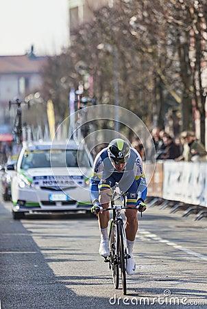 Den cyklistHoward Leigh Paris Nice prologen 2013 Redaktionell Bild