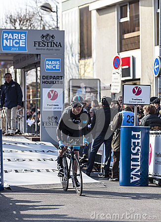 Den cyklistIan Boswell- Paris Nice prologen 2013 i Houilles Redaktionell Arkivbild