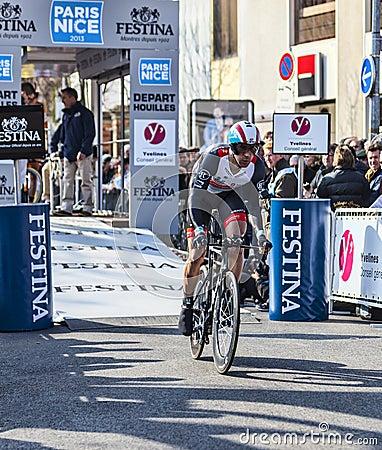 Den cyklistJens Voigt- Paris Nice prologen 2013 i Houilles Redaktionell Arkivfoto