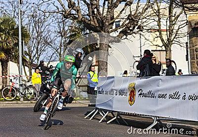 Den cyklistJerome Vincent Paris Nice prologen 2013 Redaktionell Bild