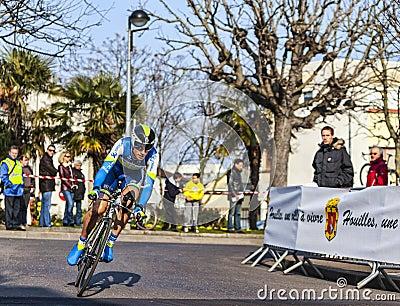 Den cyklistKeukeleire Jens Paris Nice prologen 2013 i Houille Redaktionell Bild