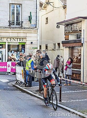 Den cyklistMonfort Maxime Paris Nice prologen 2013 i Houilles Redaktionell Bild